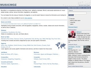 MusicMoz - Open Music Project (A comprehensive directory of all things music, edited by volunteers, listing music-related reviews, articles, factual information, biographies, and websites)