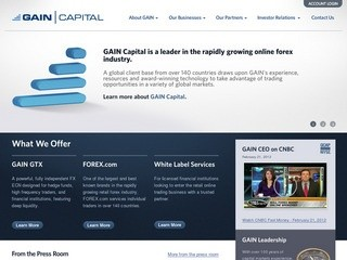GAIN Capital is a leading provider of online foreign exchange (forex) trading, asset management, and B2B forex services