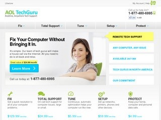 Online Tech Support from North American Tech Gurus – AOL TechGuru ( Let our Tech Guru's fix your computer problems. Our North American Agents will speed up, diagnose and fix your PC or Mac over the phone or internet)