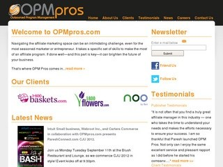 OPMpros.com - Outsourced Affiliate Marketing & Program Management Professionals (OPMPROS is a full service Internet marketing agency that specializes in outsourced affiliate program management and affiliate marketing. Let OPMPROS take the strain out of yo